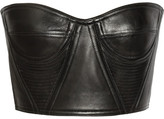 Balmain Cropped underwired leather bustier