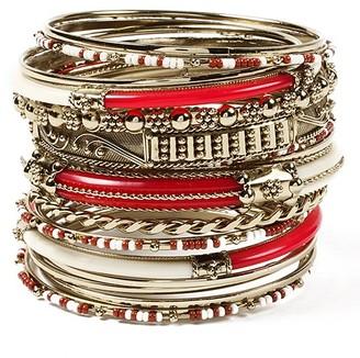Amrita Singh Women's Bracelets Ruby-Ivory - Red & Cream Monaco Bangle Set