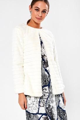 iClothing Karen Cropped Faux Fur Jacket in Cream
