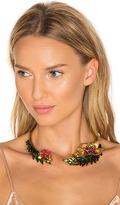 Elizabeth Cole Flower Choker in Metallic Gold.
