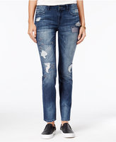 Rewash Juniors' Ripped Dark Blue Wash Skinny Jeans