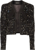 Isabel Marant Felipe leather-trimmed embellished linen-blend jacket