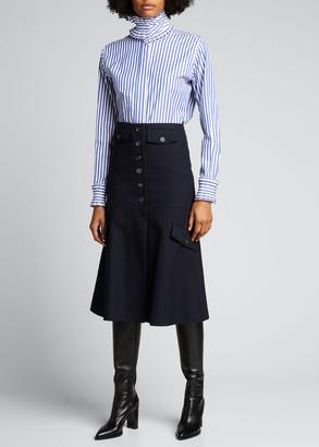 Victoria Beckham Stripe Ruffle Shirt w/ Detachable Collar