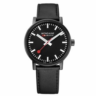 Mondaine Men's SBB Stainless Steel Swiss-Quartz Watch with Leather Calfskin Strap