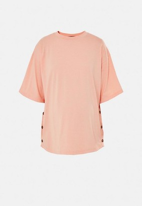 Missguided Peach Button Side Maternity T Shirt