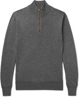 Hackett - Slim-fit Suede-trimmed Wool And Cotton-blend Half-zip Sweater