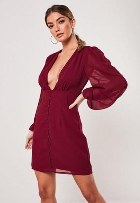 Missguided Burgundy Chiffon Milkmaid Button Down Mini Dress