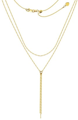 Curata 14k Yellow Gold Double Strand Bead And Bar Lariat Adjustable Choker Necklace