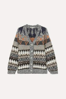 Stella McCartney Wool-blend Jacquard Cardigan - Blue
