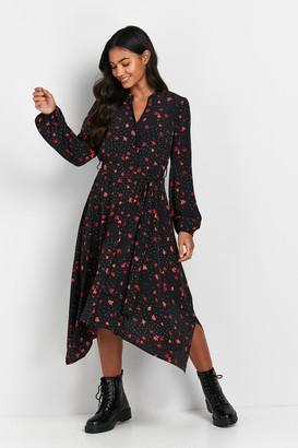 Wallis Black Floral Print Hanky Hem Midi Dress