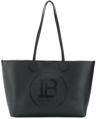 Balmain logo embossed tote bag