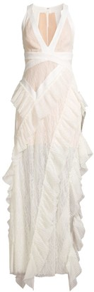 BCBGMAXAZRIA Pleated Ruffle Lace Gown