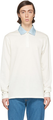 Lanvin White Grosgrain Collar Polo