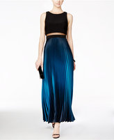 Betsy & Adam Pleated Ombre Illusion Gown