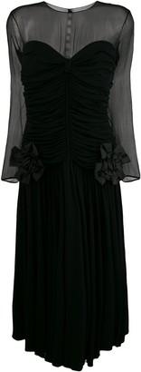 Nina Ricci Pre Owned Gathered Sheer Midi Dress