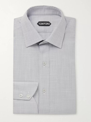 Tom Ford Slim-Fit Print of Wales Checked Cotton Shirt - Men - Gray