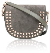 Amanda Wakeley Midi Cooper Khaki Suede & Leather Crossbody Bag