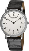 Stuhrling Original Sthrling Original Mens White Dial Alligator-Look Black Leather Strap Watch