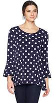 Chaus Women's Bell Slv Dot Print Top