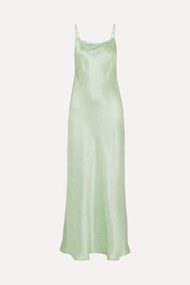 Rixo Holly Polka-dot Silk-charmeuse Jacquard Dress - Light green