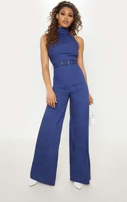 PrettyLittleThing Tall Navy Belt Detail Woven Wide Leg Jumpsuit
