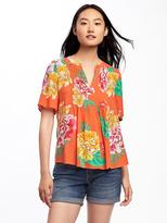 Old Navy Printed Pintuck Swing Blouse for Women