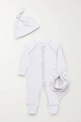 BURBERRY KIDS Months 1 - 12 Stretch-cotton Jersey Onesie, Hat And Bib Set