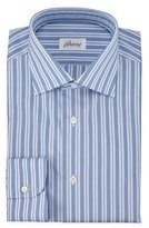 Brioni Alternating-Stripe Dress Shirt, Blue