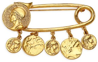 Kenneth Jay Lane Goldplated Coin Charm Safety Pin Brooch