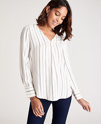 Ann Taylor Pinstripe Mixed Media Pleat Front Top