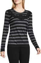 Vince Camuto Lace Trim Stripe Sweater (Regular & Petite)