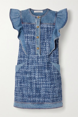 Philosophy di Lorenzo Serafini Ruffled Denim And Boucle Mini Dress - Mid denim