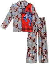 Komar Kids Boys Moose Micro-fleece Plaid Panel 2-pc Pajama Set, Grey (Medium )
