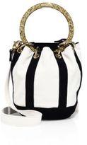 Edie Parker Small Olivia Suede & Linen Bucket Bag