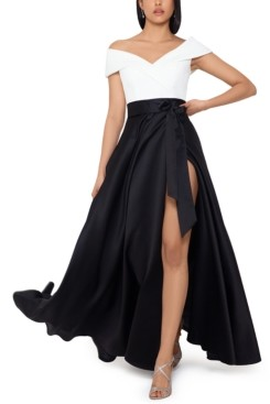 Xscape Evenings Colorblocked Off-the-Shoulder Ball Gown