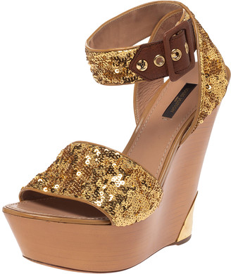 Louis Vuitton Metallic Gold Sequin Embellished Wedge Platform Ankle Strap Sandals Size 38.5