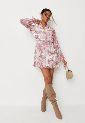 Missguided China Print Frill Plunge Smock Dress
