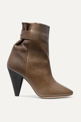 Isabel Marant Lystal Leather Ankle Boots - Brown