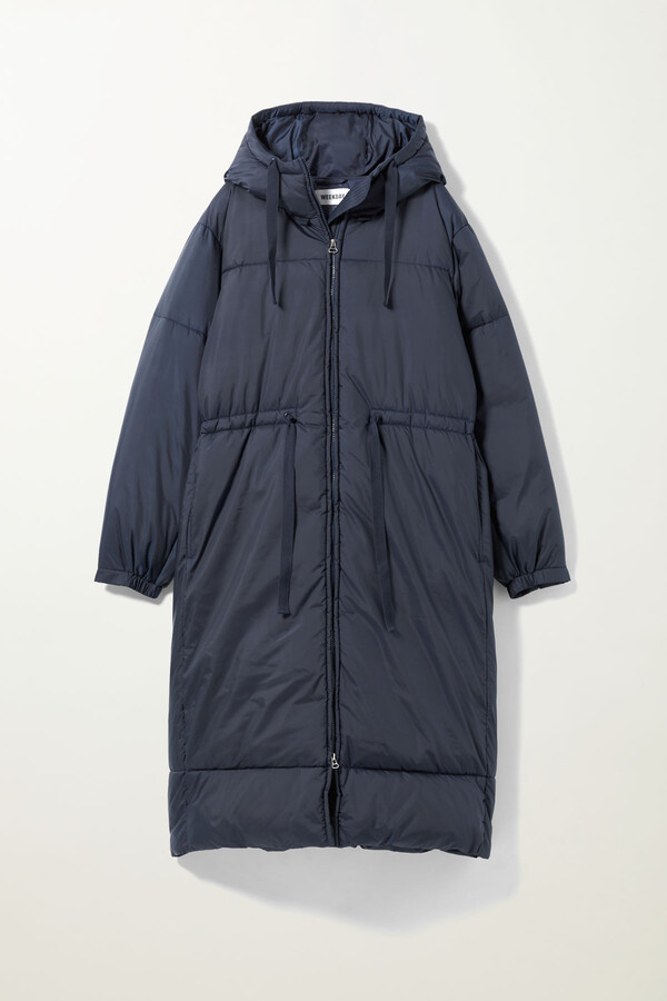 Weekday Ally Long Puffer Jacket - Blue