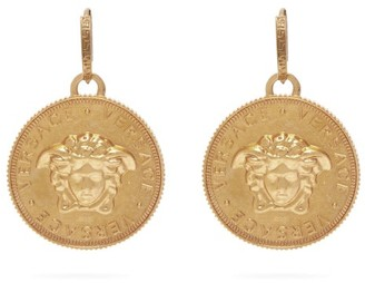 Versace Medusa Coin Brass Earrings - Gold