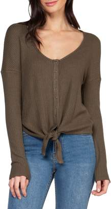 Dex Long-Sleeve Button-Down Tie-Front Top