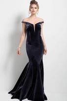 Jovani 54848 Off-Shoulder Velvet Mermaid Gown