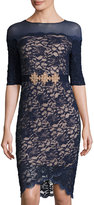 Jax Illusion-Neck Lace-Overlay Dress, Navy
