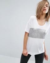 Dr. Denim T-Shirt with Metallic Stripe Panel
