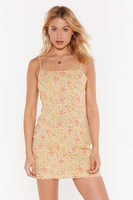 Nasty Gal Womens Flowers That Be Floral Midi Dress - Lemon