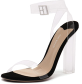 Tony Bianco Kiki Clear Vynalite/Black Suede