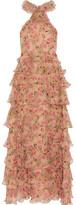 Vilshenko Sabina Tiered Floral-print Crinkled Silk-georgette Gown - Neutral