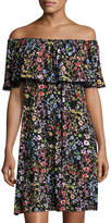 Neiman Marcus Floral-Print Off-the-Shoulder Dress