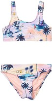 Hobie Kids Island Dream Tank Bralette Top Hipster Bottoms Set (Big Kids) (Multi) Girl's Swimwear Sets