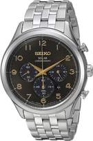 Seiko Men's 'Solar Chronograph' Quartz Stainless Steel Casual Watch, Color:Silver-Toned (Model: SSC563)